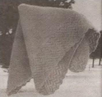 ажурная кайма при вязании платка с угла